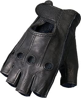 Hot Leathers Deerskin Fingerless Gloves (Black, Medium)