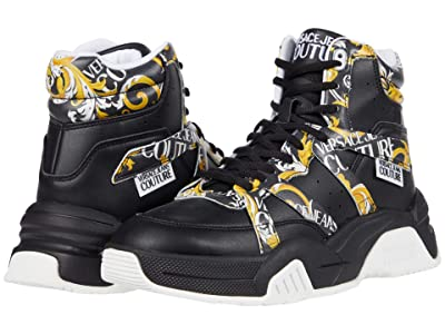 Versace Jeans Couture Scarf Print High-Top Sneaker (Black/Gold) Men
