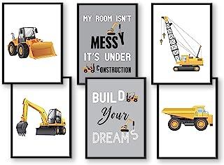 Set of 6 pictures construction vehicles excavator crane children's room decoration picture boy baby room poster DIN A4 tru...