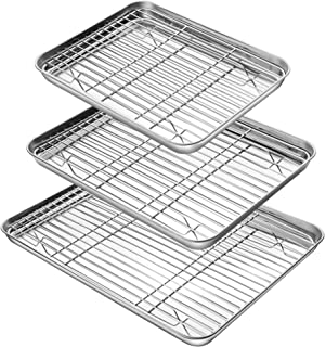 YIHONG Baking Sheet with Rack Set (3 Sheets+3 Racks), 3 Size Cookie Sheets for Baking Use, Stainless Steel Baking Pans wit...