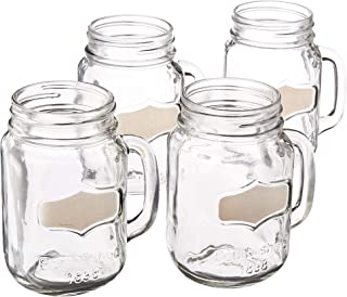 Circleware 92040 Yorkshire Glass Mason Jar Mugs with Chalkboard and Handle, Set of 4 Heavy Base Fun Glassware Drinking Beverage Cups for Water, Beer, Juice & Bar Decor, 17.5 oz, Silver