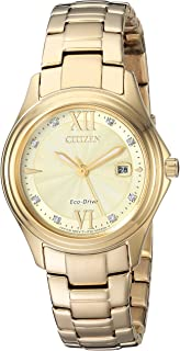 Eco-Drive Classic Quartz Womens Watch, Stainless Steel, Crystal, Gold-Tone (Model: FE1132-84P)
