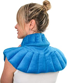 Microwavable Moist Heating Pad for Neck and Shoulder by Zensity Wellness - Weighted Neck Wrap with Blend Natural Herbal - Heat and Cold Therapy for Anxiety, Pain, Stress, Arthritis and Pressure Relief