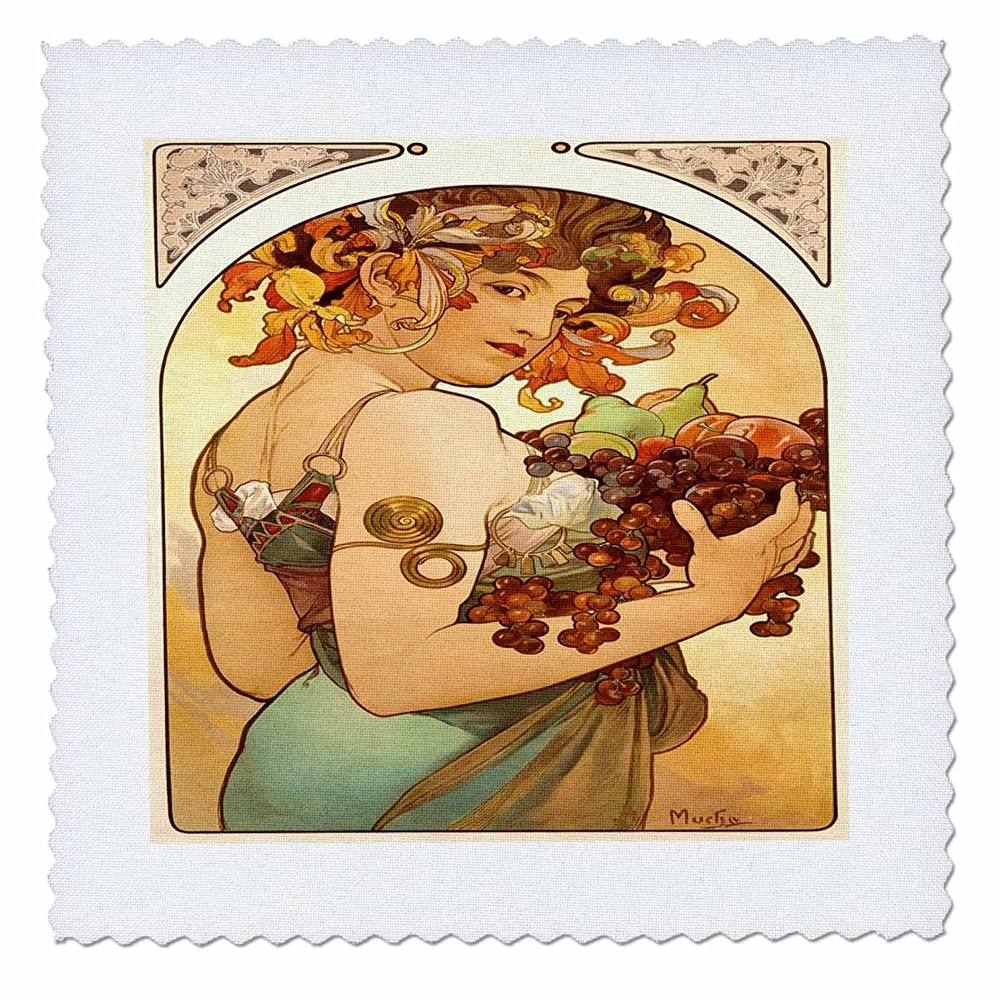 3dRose qs_61840_2 Painting by Alphonse Mucha Fruit Quilt Square, 6 by 6-Inch tureyhuv6