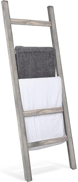 MyGift 墙壁倾斜乡村灰色木质梯子风格毛毯架