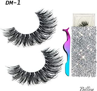 3D Mink Eyelashes Real Siberian Handmade Invisible Band False Lashes Pair with 1 Tweezers, Cruelty Free Natural Soft Curly Fake Eyelash Strips in Deluxe Box for Womens Make Up (DM-1)