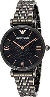Emporio Armani Women's Black Dial Stainless Steel Analog Watch - AR11245