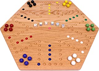 "Large Oak-Wood Hand-Painted Wooden Aggravation Marble Game Board, 24"" Wide, Double-Sided"
