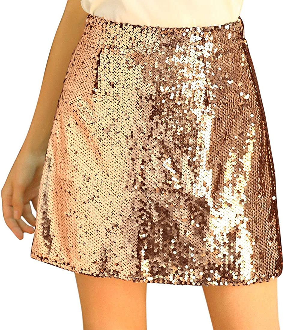 Allegra K Women's Sequin Sparkle Party Night Skirts A-Line Mini Shiny Stretchy Skirt