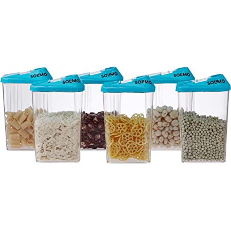 Amazon Brand - Solimo Plastic Storage Containers with Sliding Mouth (Set of 6, 1100ml, Blue)