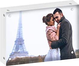 DEKIRU Acrylic Picture Frame - 5x7 (24mm Thick), 20% Thicker • Floating Frames • Plexi Glass Picture Frame • Frameless Picture Frames • Double Sided Frames • Clear Picture Frames • Magnetic Frame