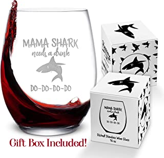 Baby Mama Shark Etched Wine Glass – Stemless Novelty Wine Glass for Women with Sayings – Funny Shark Gifts & Cup Accessories for Mom Mother Friends