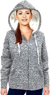 ICON-APPAREL Women's Sweatshirt Sherpa Lined Zip up Fleece Hoodie Jacket Outwear with Pockets