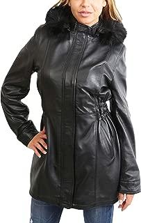 Ladies 3/4 Length Parka Leather Detachable Hood Fitted Duffle Jacket Kathy Black