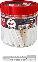 TOX Multifunctionele pluggen met kraag Deco 6 x 41 mm in ronde doos, pluggen voor bijna alle bouwmaterialen, 190 stuks, 01...