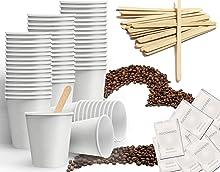 Kit accessori da caffè formato da 150 bicchierini in cartoncino riciclabili da 75 ml - 150 bustine di zucchero - 150 palettine in legno 9 cm (KIT BASE)