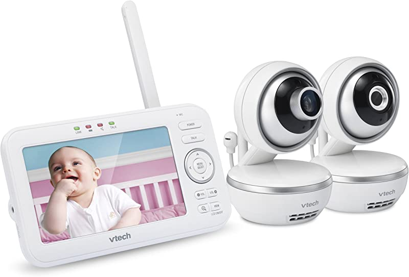 VTech VM5261 2 5 Digital Video Baby Monitor With 2 Pan Tilt Cameras Wide Angle Lens And Standard Lens White