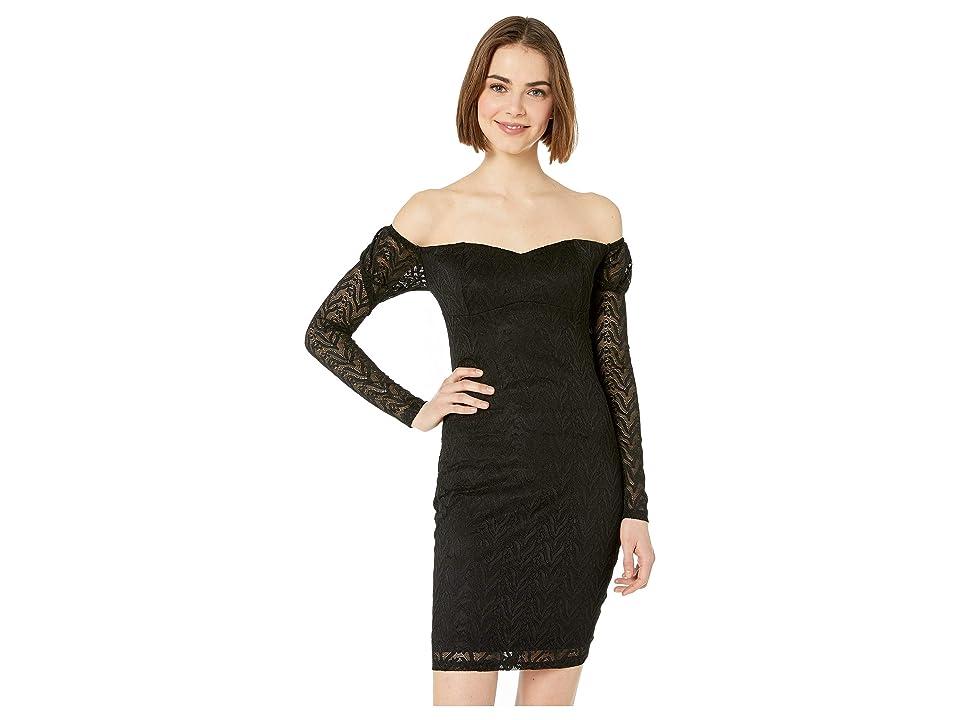 Bebe Off Shoulder Lace Dress (Jet Black) Women