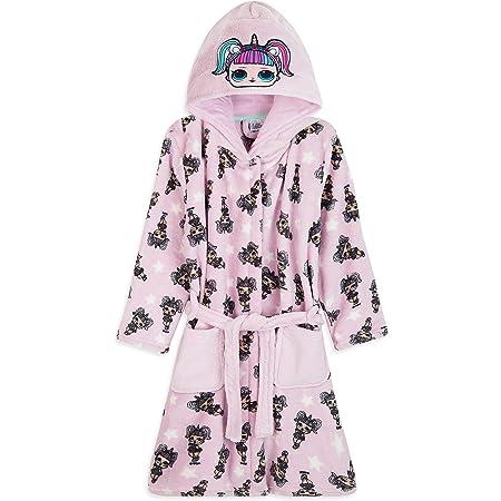 Surprise Peignoir Pilou Pilou Enfant Rose Et Violet avec Capuche Motif Poup/ée LOL Kitty Queen Et Unicorn Robe De Chambre Fille en Polaire L.O.L