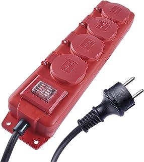 EMOS Steckdosenleiste 4-fach mit Schalter, 10 m Kabel, IP44 für Aussenbereich mit Klappdeckel, schwarz/rot, 1,5 mm, Schuko Mehrfachsteckdose mit Kindersicherung