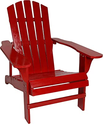 Sunnydaze Coastal Bliss Outdoor Painted Adirondack Chair - Natural Fir Wood Construction - Patio, Deck, Fire Pit, Garden, Porch and Lawn Seating - Red