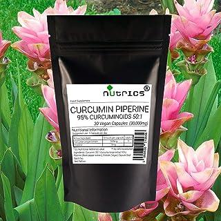 Nutrics® 12 000 mg gurkmeja gurkmeja och piperin 95 % extrakt | 30 kapslar (1 månaders leverans) | Tillverkad i Storbritan...