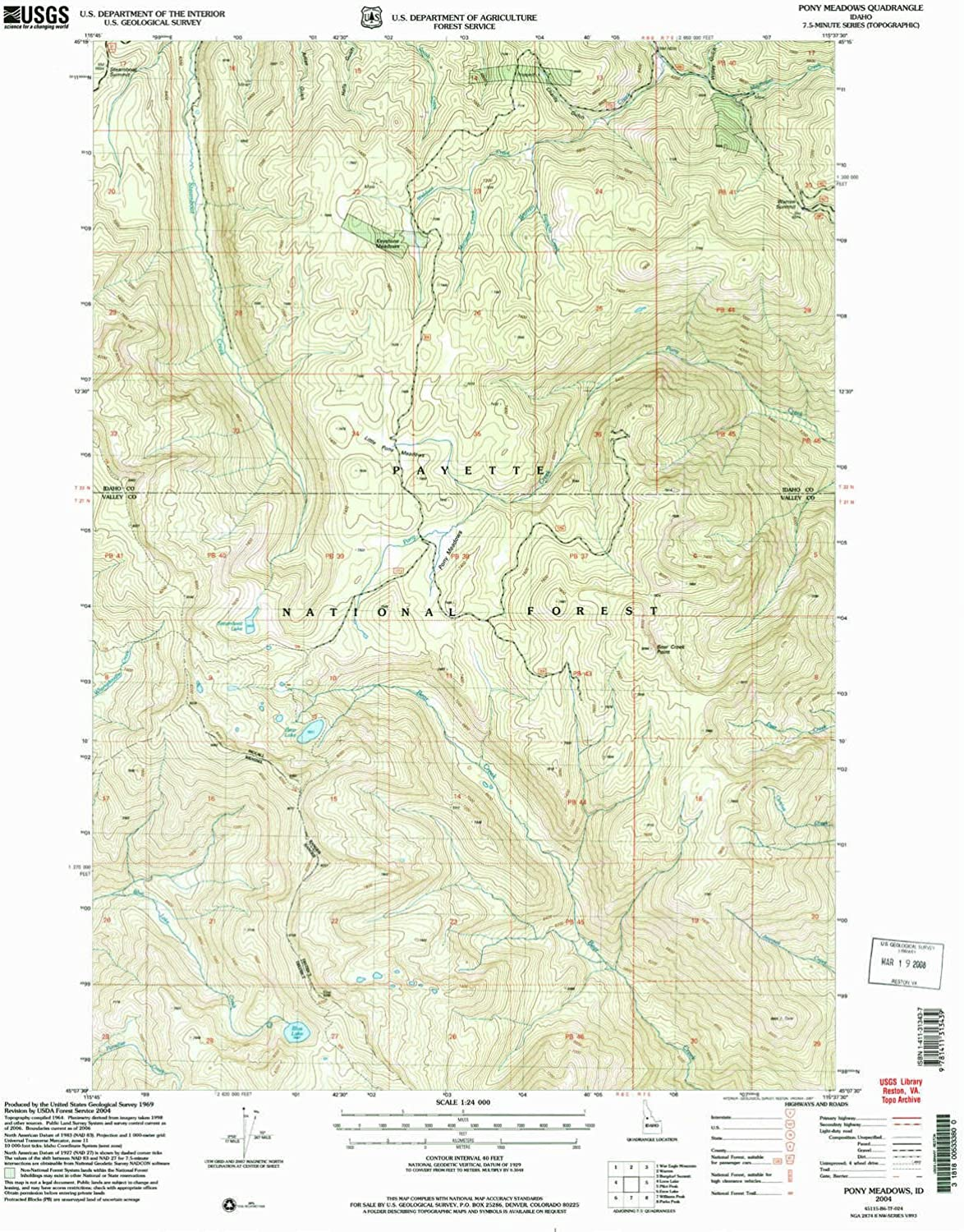 Pony Meadows ID topo map, 1 24000 Scale, 7.5 X 7.5 Minute, Historical, 2004, Updated 2007, 26.8 x 22 in