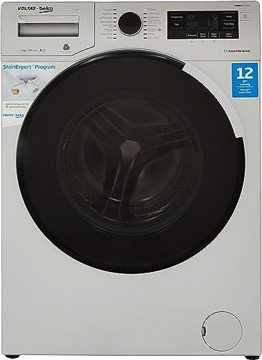 Voltas Beko 8 Kg Inverter Fully-Automatic Front Loading Washing Machine, Inbuilt Heater, 26 Stain Remover, Premium Door (WFL80SP, Silver)