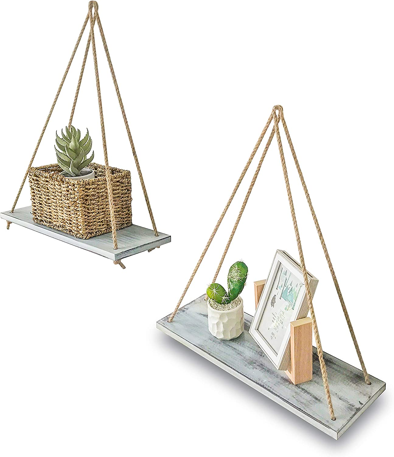 ASLINY Set of 2 Distressed Wood Floating Rope Hanging She Popular Rare shop is the lowest price challenge Swing
