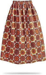 FANS FACE Women African Print Traditional Costume High Waist Maxi Skirt A-Line Long Skirts Plus Size