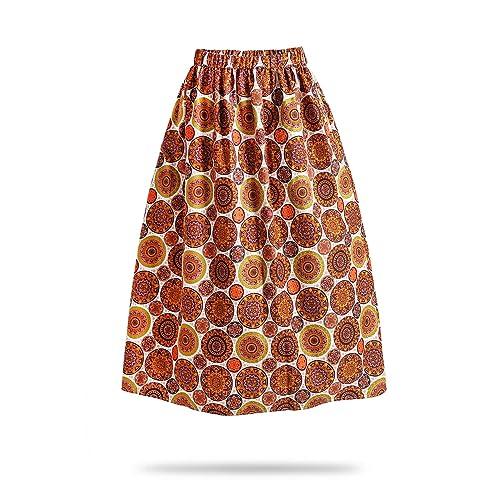 e7837bef17 FANS FACE Women African Print Traditional Costume High Waist Maxi Skirt  A-Line Long Skirts