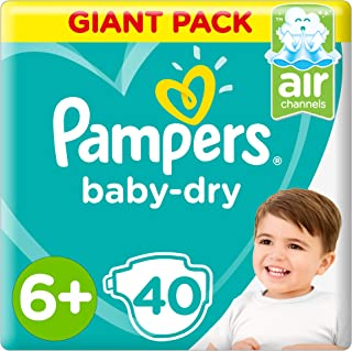 Pampers Baby-Dry, Size 6+, Extra Large+, 14+ kg, Giant Pack, 40 Diapers