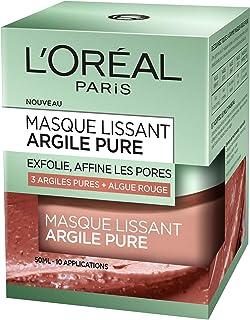 L'Oréal Paris - Mascarilla facial alisadora exfoliante a la arcilla/alga roja de 50ml.
