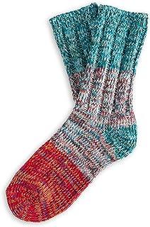 THUNDERS LOVE,   Calcetines Unisex   Talla 36-39   Modelo Helen   Rojo y Azul   Calcetines de Algodón   Calcetines Ecológicos   Algodón Reciclado 90%   Tejido Canalé Suave y Acolchado