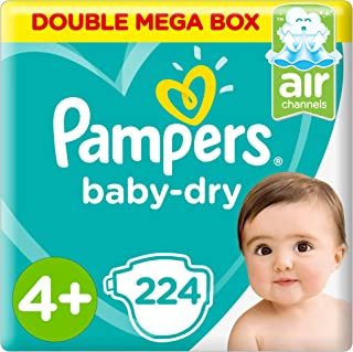 Pampers Baby-Dry Diapers, Size 4+, Maxi+, 9-16kg, Double Mega Box, 224 Count