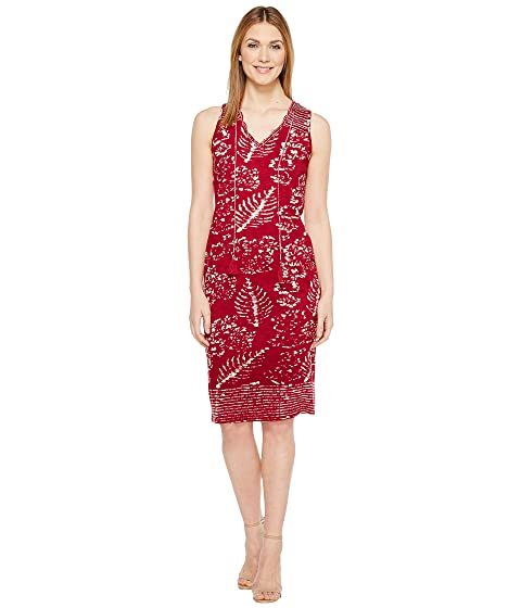 lucky brand red batik print dress