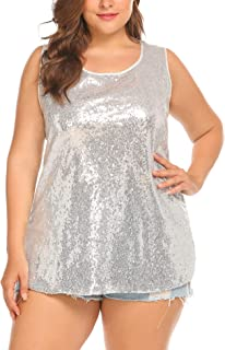 IN'VOLAND Women's Sequin Tops Plus Size Glitter Tank Top Sleeveless Sparkle Shimmer Shirt Tops Camisole Vest
