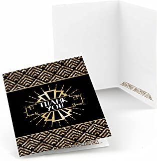 Roaring 20's - 1920s Art Deco Jazz Party Thank You Cards - 2020 New Year's Eve Party (8 Count)