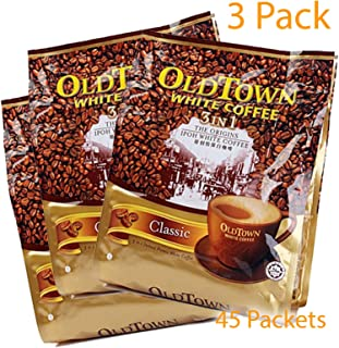 OLD TOWN 3 Pack (3 in 1) Classic White Coffee Asian Instant Coffee, oldtown White Coffee 3 Bags x 45 Instant Coffee Packets