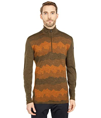Smartwool Merino 250 Base Layer Pattern 1/4 Zip (Military Olive Mountain Scape) Men