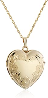 14k Yellow Gold-Filled Engraved Four-Picture Heart Locket Necklace, 20""