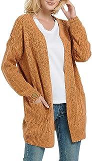 FUTURINO Strickjacke Damen Grobstrick Cardigan Strickmantel Open Front Outwear Cover Up mit Taschen