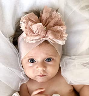 Handmade Light Pink Baby Headband, Made with Soft Fabric Flower and Shiny Rhinestone
