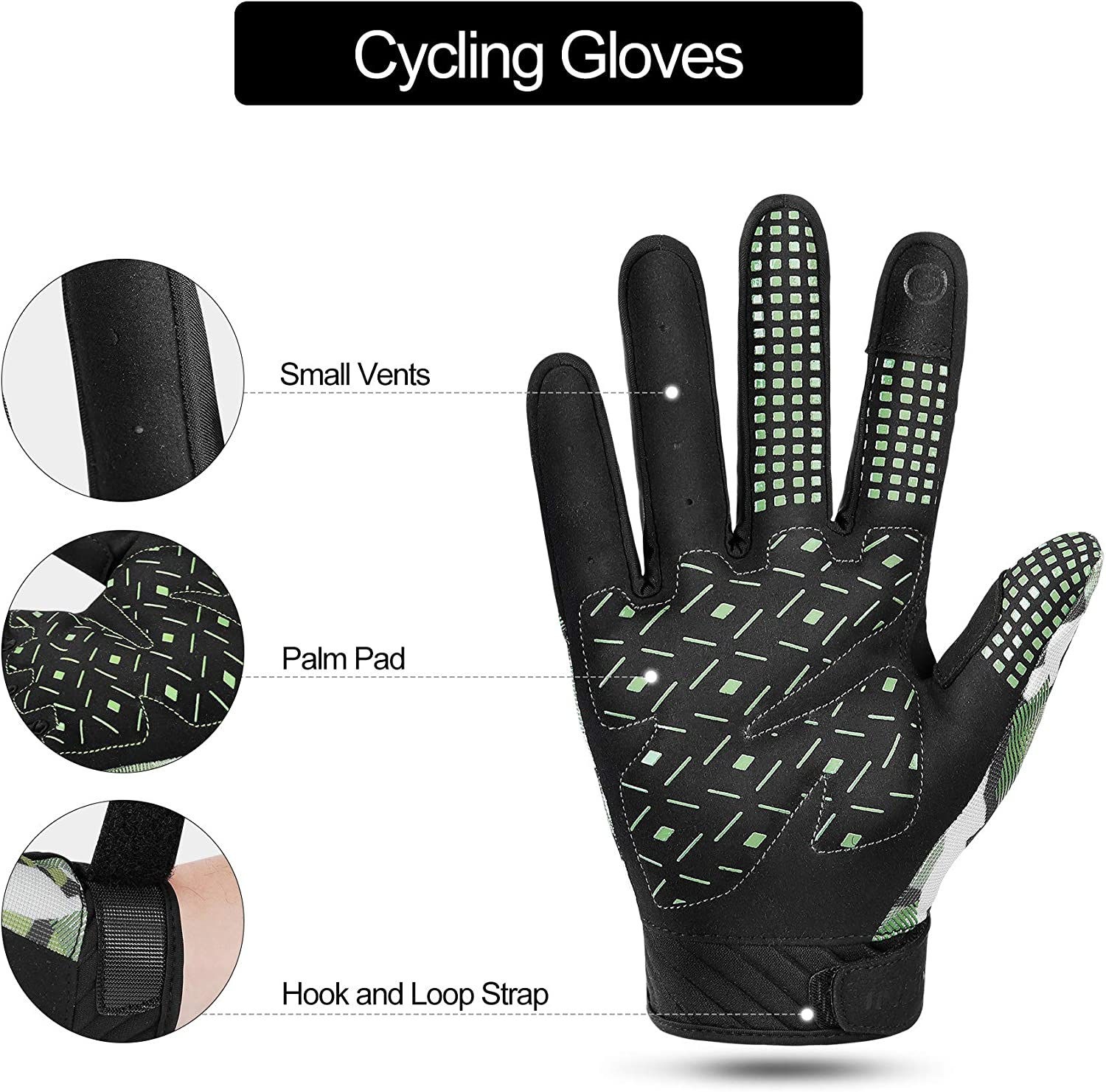INBIKE Full Finger Bike Gloves Anti-Slip Gel Padded Breathable Touchscreen Cycling Bicycle Gloves with Colorful Pattern for Men and Women