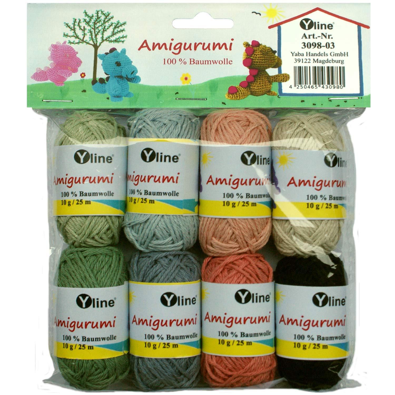 Juego de ovillos de lana Amigurumi de Yline. 10 g, 100% algodón, hilo, lana de punto, hilo de ganchillo, 3098-03: Amazon.es: Hogar