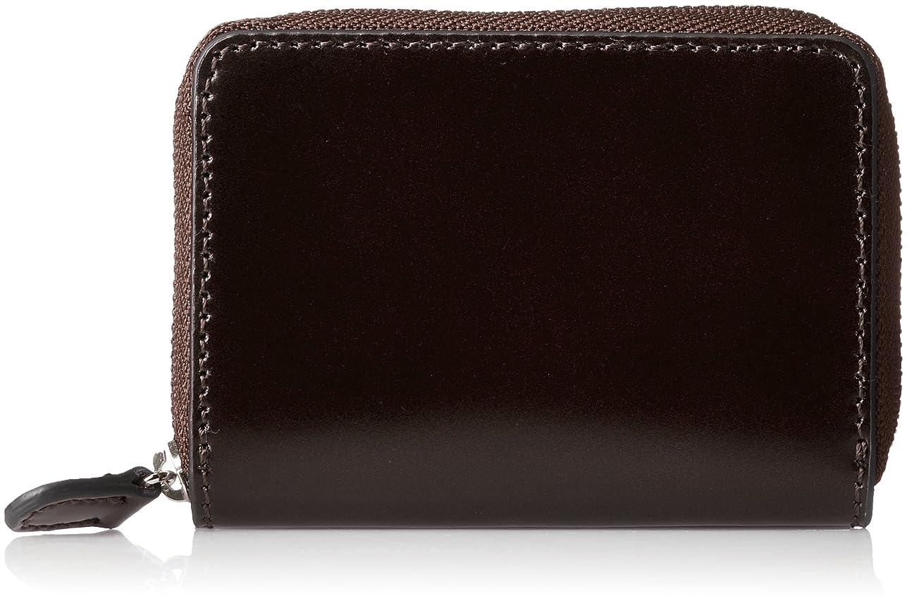 治世光黒[セパージュ] 小銭入れ 水染めコードバン コインケース ラウンドファスナー型 カードポケット付き 本革 紳士用