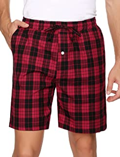 Hawiton Mens Check Pyjama Bottoms Cotton Shorts Plaid Loungewear Pants Sleepwear Classic Pjs Trouser Nightwear with Pockets