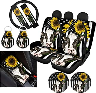 Upetstory Stripe Cow Car Seat Covers Front Back Seat Covers,Steering Covers,Console Armrest Cover,Seat Belt Pads,Coasters,Keychains Sunflower Car Decor