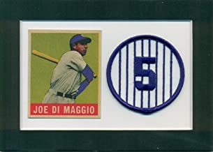 Joe DiMaggio 1948 Leaf Reprint and Embroidered Patch Matted - Ready for Frame