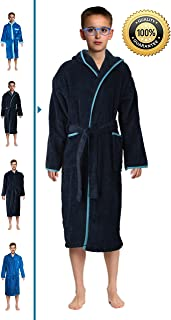 Abstract Bath Robe Towel Mens/Boys 100% Cotton Hooded-Terrycloth-Velour Finishing